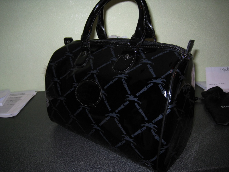 sac longchamps noir vernis