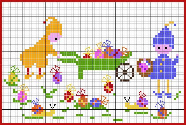 Schema per bambini a punto croce elfi con uova di pasqua for Punto a croce bambini