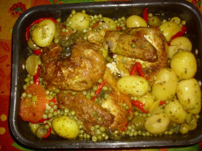 Poulet au four et ses petit l gumes - Idee recette cuisse de poulet ...