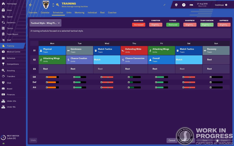 Football Manager 2019 Allenamenti